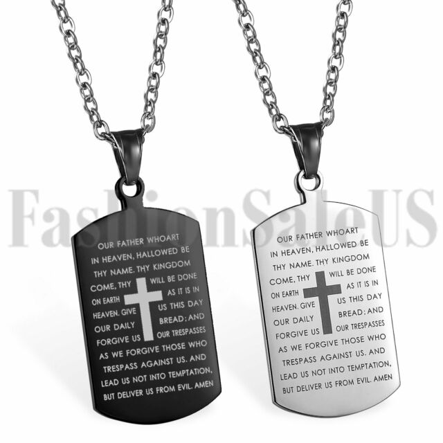 Mens Personalised Silver Steel Engraved Dog Tag Cross Pendant Necklace Xmas Gift