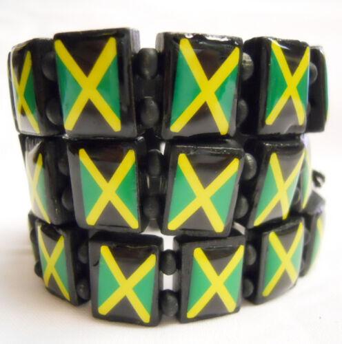 5PCS Jamaica Bob Marley Peace Friendship Elastic Stretch Wooden Bracelet Party