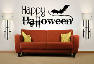 Happy Halloween Quote Vinyl Wall Art Sticker Decal Mural Home