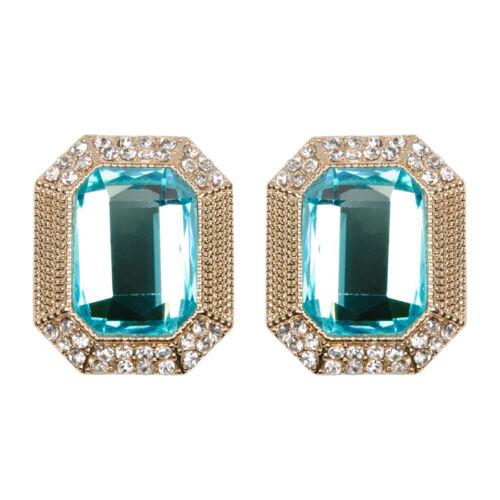 Declaración Vintage pendientes Aqua Azul Cristal Stud Oro Antiguo CuadradoLibre P/&P