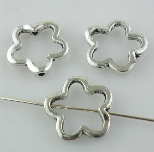 16//48pcs Tibetan silver perforation Hollow flower Loose Spacer Beads 2*16mm