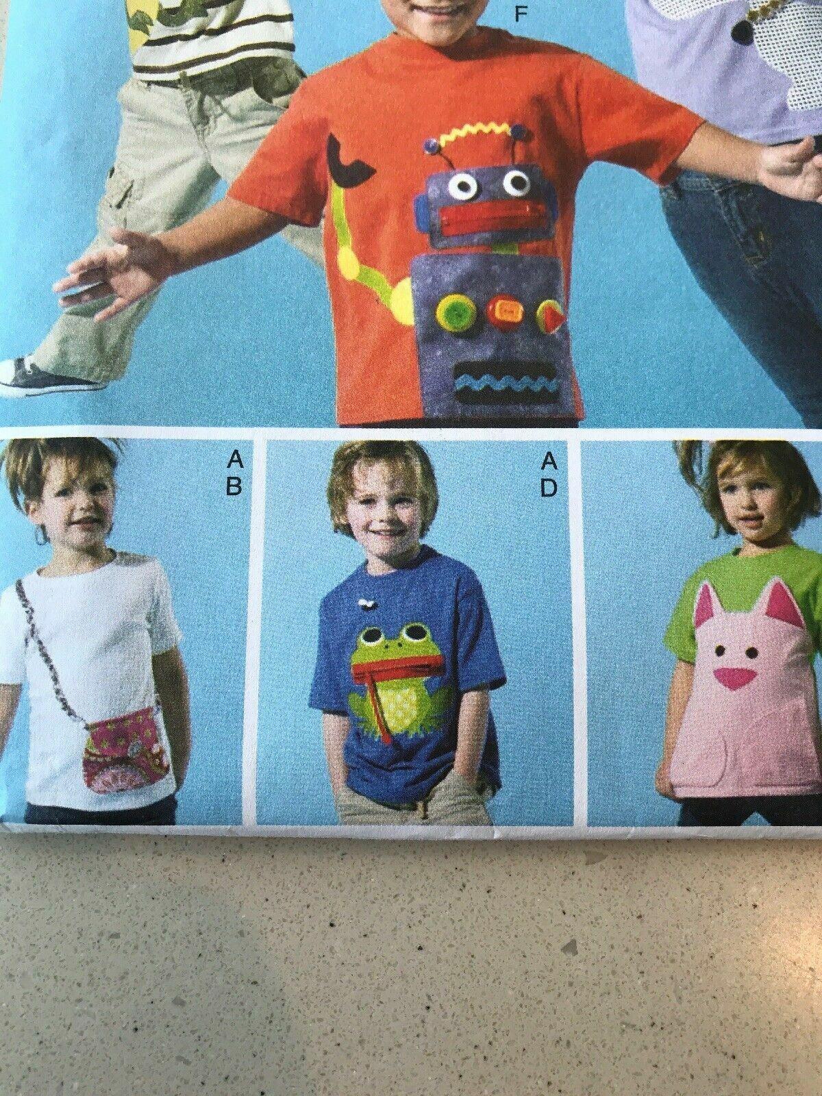Robot Dog Frog etc McCalls Pattern M6545 Boys /& Girls T-Shirts w//Fun Appliques