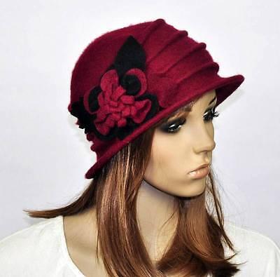 M92 Cute Flowers Winter Warm Wool Acrylic Women's Hat Beanie Ski Cap WINE-RED