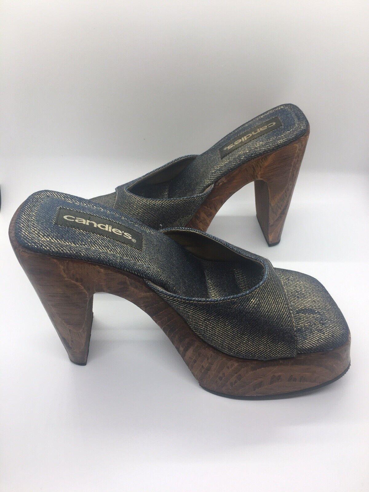 CANDIE'S Vintage 1990's Denim Platform Block Heel… - image 11