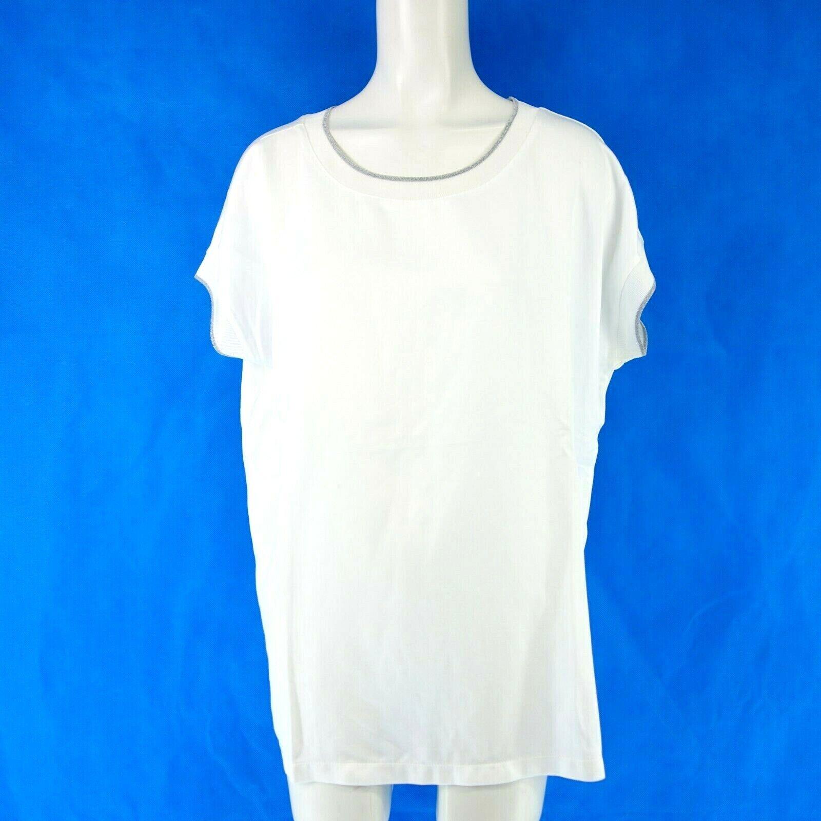 LAURÉL Laurel Damen Shirt 41265 Gr 42 Weiß Silberstreifen Strickbund NP 119 NEU