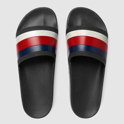 Gucci Slides Red White Blue Web Stripe