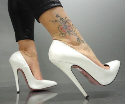 Italy In Bianco 38 Schuhe Pumps Heels Mori High Zapatos Cuero Nuevo Blanco Sky Made p6w4q4