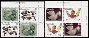 Canada-867a-9a-TR-Plate-Blocks-MNH-Art-Inuit-Spirits-Bird