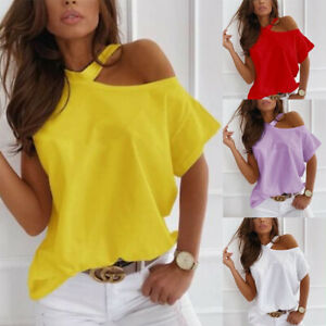 Women Summer Short Sleeve Cold Shoulder Print Solid Blouse Casual Loose T Shirt