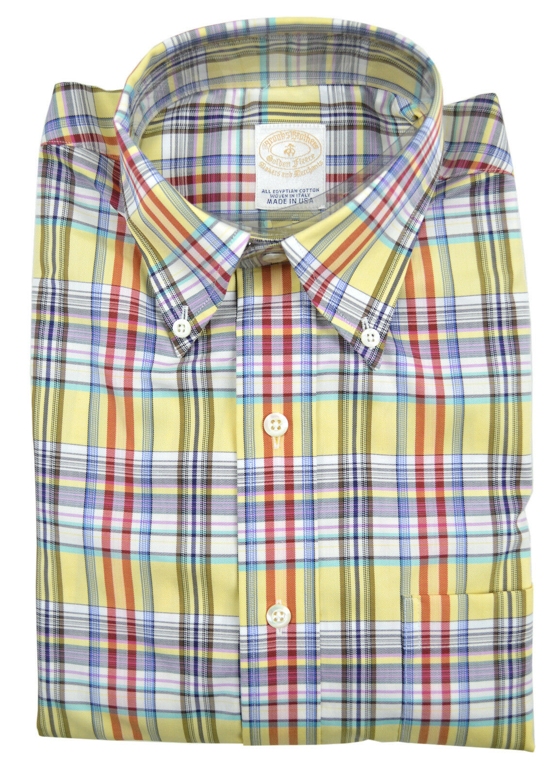 3832-2 Brooks Bredhers Yellow Plaid golden Fleece Button Down Shirt Small S