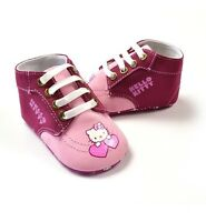 New HELLO KITTY Soft Sole Baby Girl 2-Tone High Top Crib Shoes. Age 6-12 Months