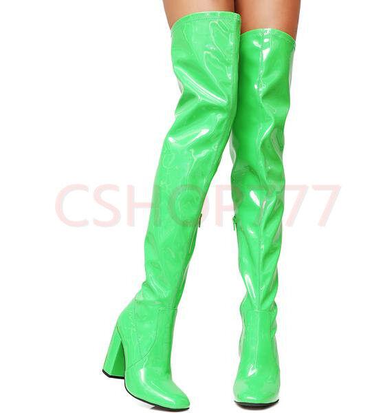 Dedo del del del pie cuadrado para mujer sexy encima de la rodilla alta botas Charol Tacones Zapatos cubano  tiendas minoristas
