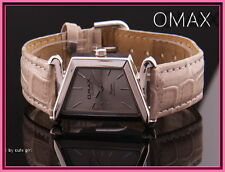 Edle Omax Damenuhr, Metall, Silber, Taupe, Leder, Armbanduhr EAN 4212345000126