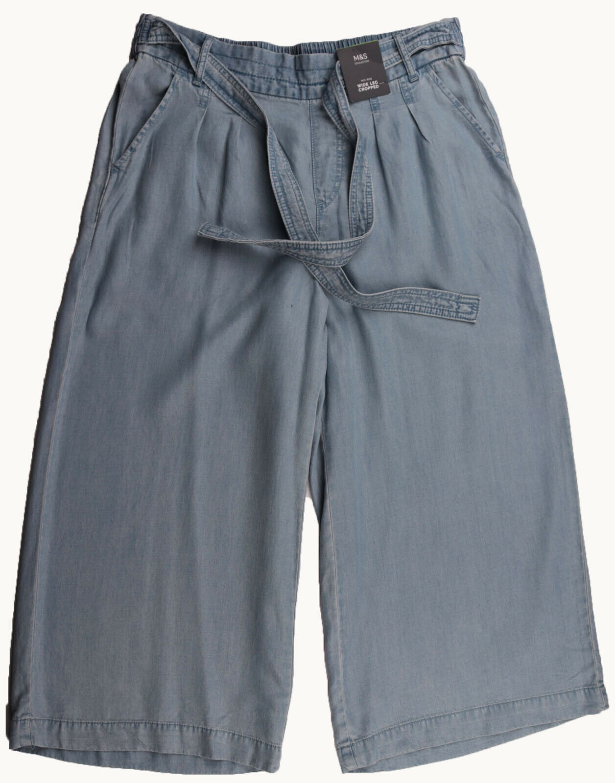 New Womens Marks /& Spencer Blue Wide Leg Crop Jeans Size 22 14
