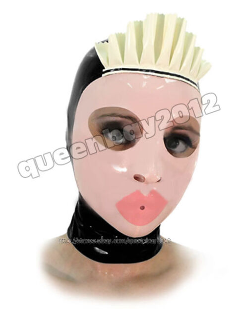 100 Latex Rubber Gummi 0 45mm Maid Mask Hood Suit Catsuit Ruffle Party Costume