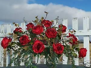 Dia-Del-Padre-Memorial-Funeral-Luto-cementerio-largo-Tombstone-Silla-Seda-Rosas-Rojas