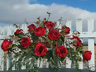 July 4th Fire works Summer Cemetery Grave Silk Tombstone Saddle Red Opera Roses