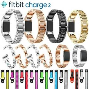 Stainless-Steel-Leather-Strap-Bracelet-Wrist-Band-For-Fitbit-Charge-2-Tracker