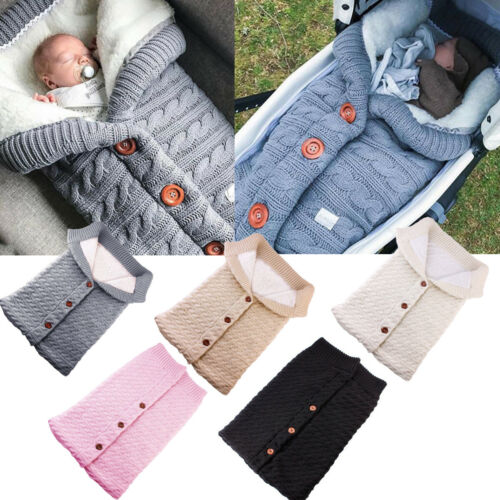 Newborn Baby Swaddling Blanket Wrap Sleeping Bag cosy toes Knit Crochet Warm