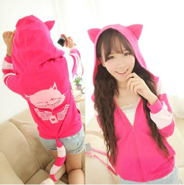 Japanese Harajuku Lolita Cute Cat ears tail Pink Sweater Hoodie Jacket Coat