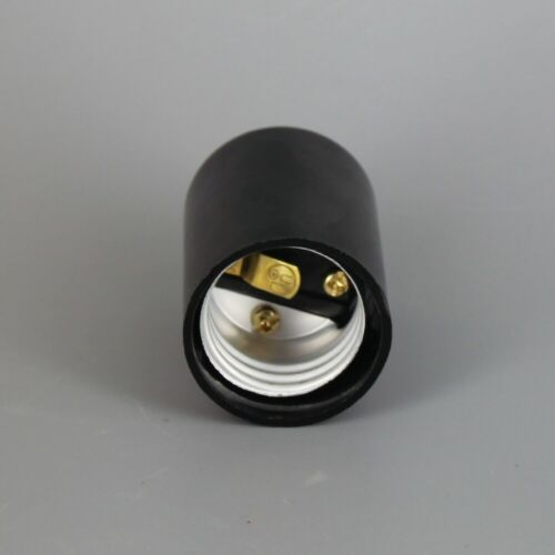 BLACK PLASTIC HUSK 2 PIECE BOTTOM TURN KNOB LAMP SOCKET MEDIUM BASE 30147J