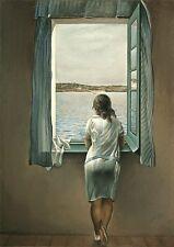 Incorniciato stampa-Salvador Dali Donna alla finestra (Pittura foto poster arte)