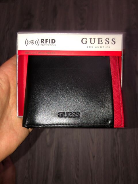 New Guess Men/'s Wallet Black//Red Leather Double Billfold Credit Cards