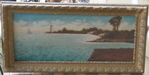 Long-Island-NY-Lighthouse-Oil-1890-039-s-Signed-Inscribed-Nice-Quality