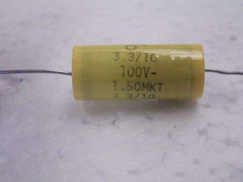 Axial Polypropylene 3.3uF = 3u3 100v 10/% Axial Dia 11.8mm Length 27mm CS08