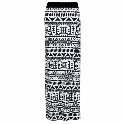 New Womens Printed Maxi Gypsy Bodycon Skirt Jersey Stretch Dress Full Long 8-26