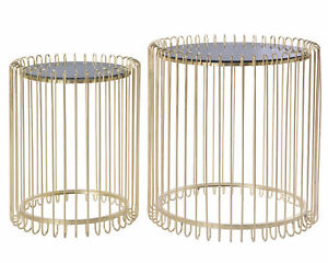 New-Bold-Tones-Modern-Round-Gold-Metal-and-Smoked-Glass-Side-Table-Set-of-2