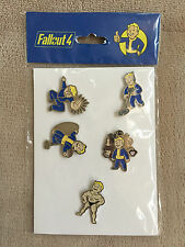 Official Fallout 4 Vault Boy Metal Pin Badges - Set of 5 New and Sealed