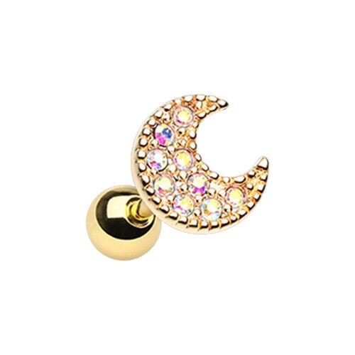 Golden /& Silver DayDream Moon Cartilage Tragus Earring