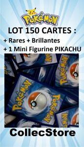 LOT-150-Cartes-Pokemon-Sans-double-dont-Rares-Brillantes-1-Figurine-PIKACHU