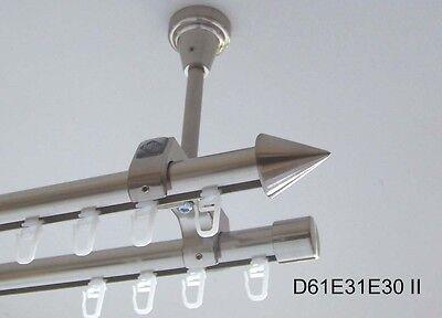 Innenlauf Gardinenstange Edelstahl Look 20 mm Deckenträger 2-läufig D61 II