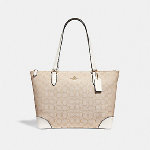 e707f1c10b ... discount image is loading coach f29958 zip top tote in signature  jacquard 339a3 288c0 ...