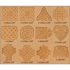 Celtic DESIGN IN PELLE Timbratura Set-Craftool 3-d timbro a mano tessuto ARTIGIANALE