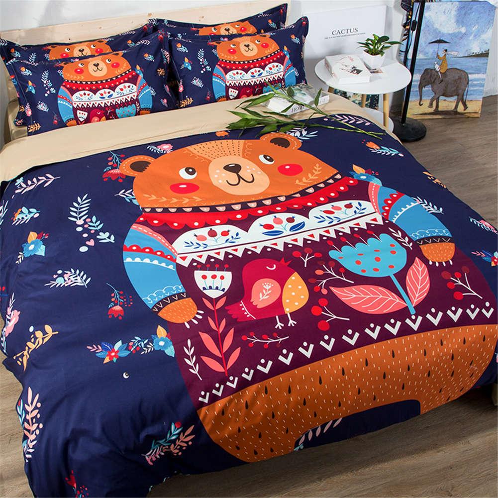 Bear Dress Flowery Clothes 3D Digital Print Bedding Duvet Quilt Cover Pillowcase