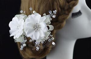 Women-Girl-Party-dance-White-flower-Crystal-wedding-Bride-Bridal-Hair-Clip-PROP