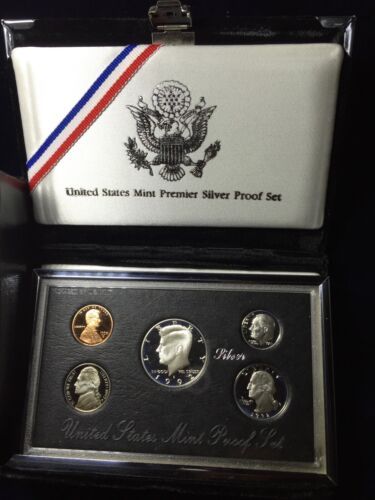 1992 US Mint Premier Silver Proof Set 5 Piece Silver Set Box /& COA