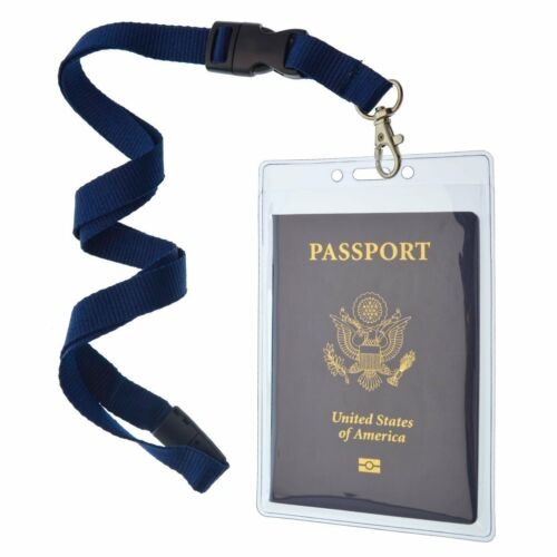 Clear Tear Resistant Passport Holders with Lanyards by Specialist ID 2 Pack