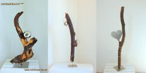 Skulpturen-versch-Schwemmholz-Edelstahl-Stele-Kunstobjekt-Deko-abstrakt-modern