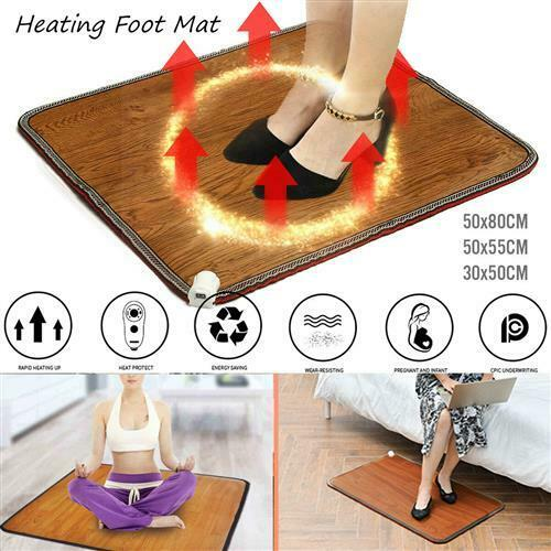 Details about  /Hot 9 Speed Electric Heating Foot Warmer Mat Thermostat Heated Carpet Pad Office