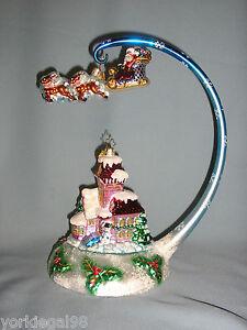 Radko-Midnight-Magic-Set-Victorian-House-Santa-amp-Sleigh-Ornaments-Stand