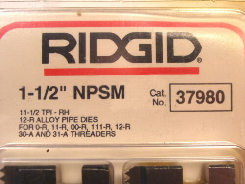 """NOS RIDGID USA 1-1//2/"""" NPSM 12-R PIPE DIES CHASERS FOR DROP HEAD THREADERS #37980"""