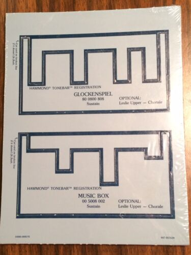 Hammond Organ Tonebar Drawbar Registration Cards New