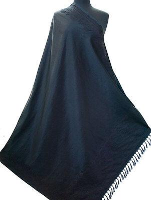 "Extra Large Black Silk & Wool Elegant Versatile 87"" x 44"" paisely Pashmina Style"