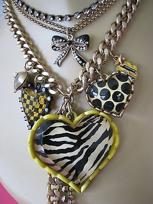 BETSEY JOHNSON VINTAGE NYC YELLOW TAXI GIRL ZEBRA HEART STATEMENT NECKLACE RARE
