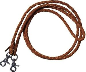7-039-TAN-Leather-Braided-Western-Roping-Reins-With-Scissor-Snap-Ends-HORSE-TACK