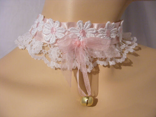 SISSY ADULT BABY KITTEN DAISY LACE CHOKER COLLAR LOLITA FANCYDRESS COSPLAY BELL
